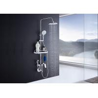 China Adjustable Slide Bar Rain Shower Set ROVATE Exposed Pipe Shower Systems on sale