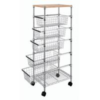 China Smooth 5 Adjustable Drawers Wire Utility Cart For Laundry , Kitchen , Office wholesale