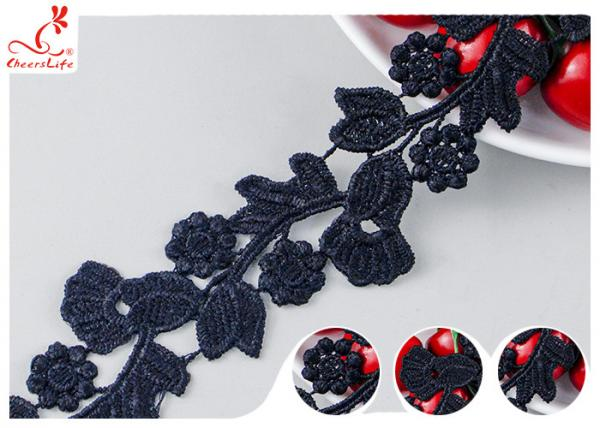 Quality Black Floral Embroidery Edging Lace Trim Via Water Soluble With High Color Fastness Dye for sale