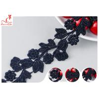 China Black Floral Embroidery Edging Lace Trim Via Water Soluble With High Color Fastness Dye wholesale