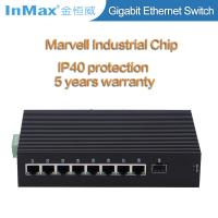 China 9 ports 10 /100/1000Mbps gigabit industrial network switch with SFP slot wide temperature -40 to 75℃ wholesale