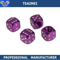 China Black / Purple Dice Shaped Truck / Motorcycle / Bicycle Tire Valve Caps wholesale