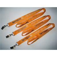 China Imprint polyester badge lanyard with metal card clip, polyester id card lanyard in bulk, on sale