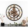China Original Antique Decorative Wall Clock Round Vintage Wall Clock Roman Style Paris Creative Wooden Wall Clock wholesale