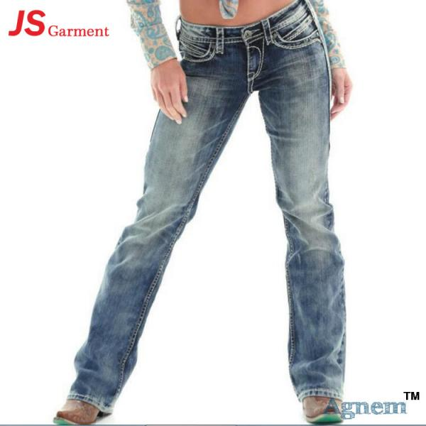 Quality Low Waist Washed Printed Jeans For Womens Elastic Straight Dark Blue Jeans Womens for sale