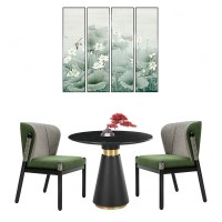 China Restaurant / Apartment Round Coffee Table With Marble Top And Metal Base wholesale