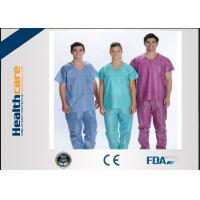 China Soft Nonwoven Disposable Scrub Suits With ISO13485 Surgical Nurse Coat Pink Dark Green wholesale