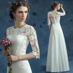 China White Short Sleeves Boat Shoulder Neck Lace Elegant Evening Dresses TSJY072 wholesale