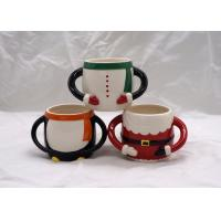 China Colorful 3D Ceramic Mug Hand Painted Christmas Santa Claus Cup With Two Handle wholesale