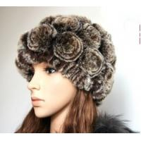 China fashion rex rabbit fur winter hat with disc flowers wholesale