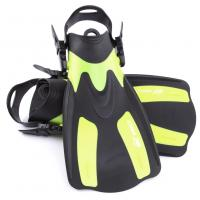 China Yellow Short Swim Fins For Snorkeling With Detachable Strap , Ergonomic Design wholesale