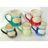 China Stoneware Reactive Glaze Mug / Porcelain Coffee Mugs With Embossed Wordings wholesale