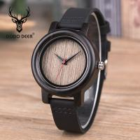 China Business Sandal Case Wooden Wrist Watch With Leather Strap 30M Waterproof wholesale