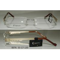 China Gold And Coffee Color Rimless Eyeglass Frames Mens For Reading Glasses , Rectangular Shaped wholesale