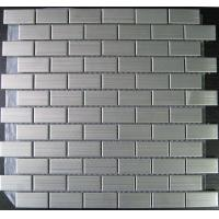 China Stainless Brushed Strip Metal Mosaic Tiles With Porcelain Base 23x48, 48x48 wholesale