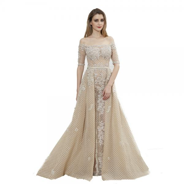 Quality Boat Neck See Through Prom Party Dress / Big Net Ladies Evening Ball Gown Dresses for sale