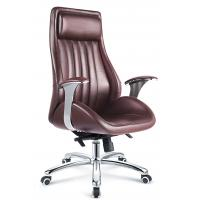 China Executive Style Brown PU Leather Office Chair With Casters High Durability on sale