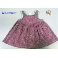 China Sleeveless Little Girl Summer Dresses Shirring At Yoke Contrast Binding Dress on sale