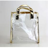 Quality PVC Tote Clear Plastic Bag Golden Color Package Cosmetics Fragrance for sale
