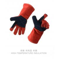 China 14inch red color long sleeve Cow leather working welding gloves safety gloves wholesale