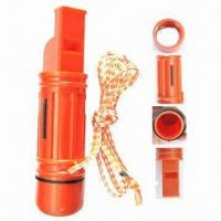 China Survival Kit, 4-in-1 Multi-function Whistle, Suitable for Camping and Hiking Emergency wholesale
