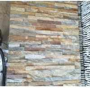 China Rusty yellow beige grey slate cultured stone wall panels veneer cladding tiles stacked sotne ledge stone glued on sale