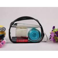 Buy cheap Customized Black Clear PVC Bag , Ladies Toiletry Bag With Handle from wholesalers
