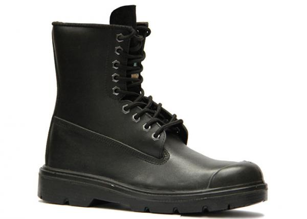 Quality High Ankle Black Non Slip Work Boots Outsole Material Double Density Injection PU for sale