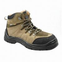 China Working Safety Shoes with Nubuck Leather Upper, Mesh-coated EVA Insole and PU Injection wholesale