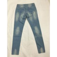 China Medium Wash Shredded High Waisted Printed Denim Jeans , Womens Bootcut Jeans wholesale