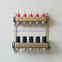 China 5 Zone Stainless Steel PEX Radiant Floor Heating Manifold Set , Heating floor stainless steel manifold wholesale
