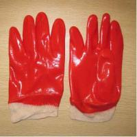 China Red PVC coated working gloves PG1512-1 wholesale