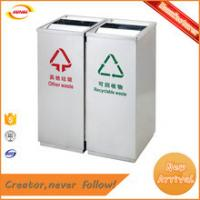 China cheap price 100L Stainless steel open top park garbage bin with 2 container Kunda GPX-535 on sale