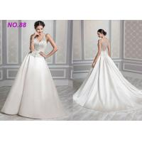 China Ivory Organza V Neck Ball Gown Wedding Dress , Formal Ball Gown Prom Dresses on sale