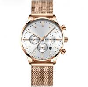 China Stainless Steel Mesh Band Chronograph Watch Men Luxury Quartz OEM Watches wholesale