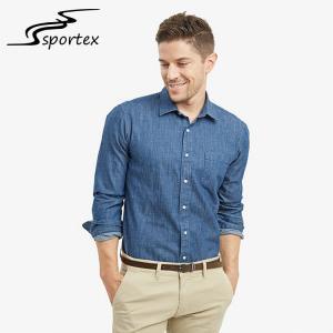 China Plain Color Slim Fit Denim Shirt Mens , Blue Denim Shirt Anti Wrinkle wholesale
