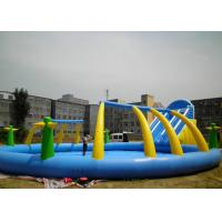 China Outdoor Adults Giant Inflatable Water Slide And Pool PVC 0.55mm With Blower wholesale