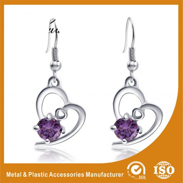 Quality 2.6CM Alloy Heart Metal Earrings Jewelry  / Safety Pin Earrings for sale