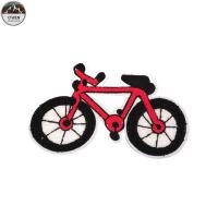 China Red Bike Chenille Patches For Letterman Jackets Towel Material 10*15cm Size wholesale