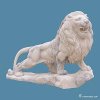 China White Marble Stone Carving Sculpture Animal Lion , Contemporary Stone Sculpture wholesale