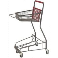 China Gray Metal 2 - Tier Supermarket Basket Shopping Trolley Anti - Collision With 4 PU wheels wholesale