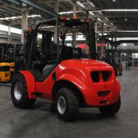 China 4 Wheel Drive Stand Up Forklift , Narrow Aisle Forklift Rough Terrain Lift Truck wholesale
