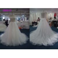 China Boat Neckline Pearls Muslim A Line Ball Gown Wedding Dress For Girls Lace Appliques wholesale