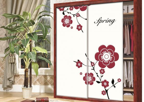 Quality Beautiful Pink / Purple Flower Wardrobe Sliding Door , Carved 9mm UV MDF Board for sale