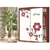 China Beautiful Pink / Purple Flower Wardrobe Sliding Door , Carved 9mm UV MDF Board wholesale