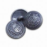 Quality 17.5mm Zinc Alloy Metal Buttons, Customized Designs and Logos are Accepted for sale