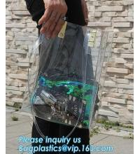China fashional pvc lcear plastic shoulder display shopping bag, Portable Clothing Storage Shopping Bag, Women Fashionable Tra wholesale