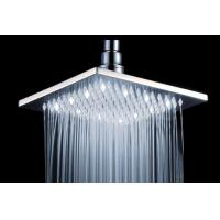China Large Square Ceiling Ball Joint Rain Shower Head With White Led Light on sale