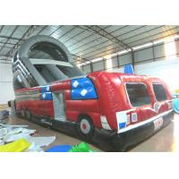 China Closed inflatable bus standard slide hot fire truck inflatable dry slide fire fighting truck inflatable slide wholesale
