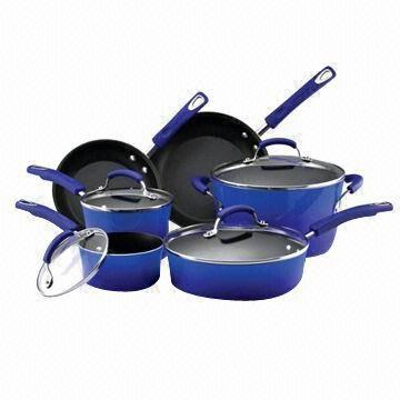 Quality 12-piece Forging Cookware Set with French Skillets Gray Stockpot and Tall Stock Pan, Ceramic Coating for sale